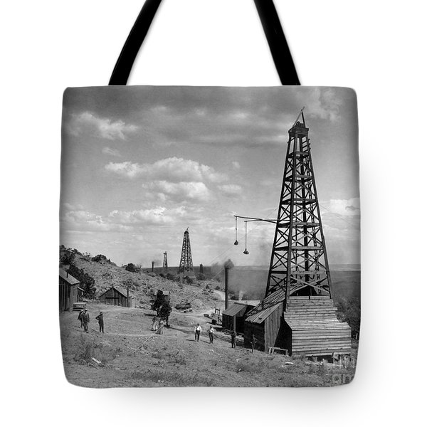 Tote Bag featuring the photograph Oil Well, Wyoming, C1910 by Granger