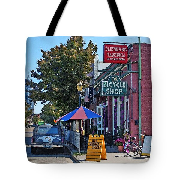 Ok Bicycle Yellow Sign Tote Bag by Michael Thomas