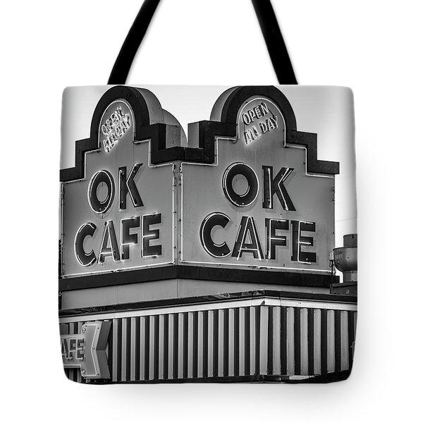 Ok Cafe Neon 2 B W Atlanta Classic Landmark Restaurant Art Tote Bag