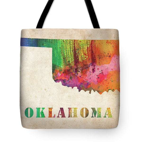 Oklahoma Colorful Watercolor Map Tote Bag