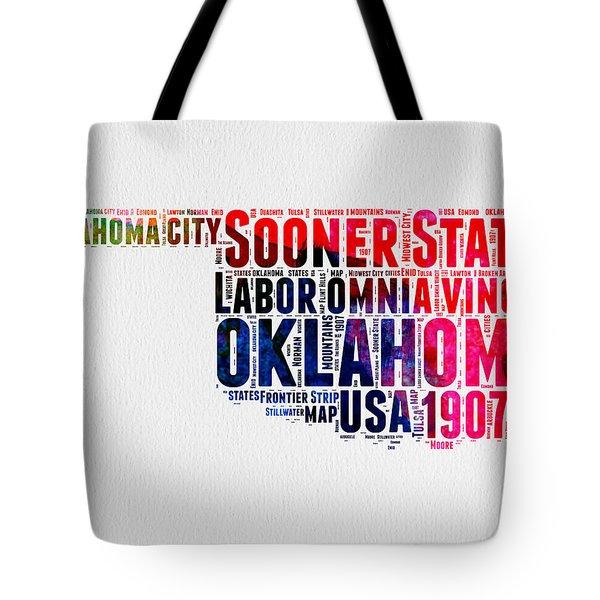 Oklahoma Watercolor Word Cloud  Tote Bag