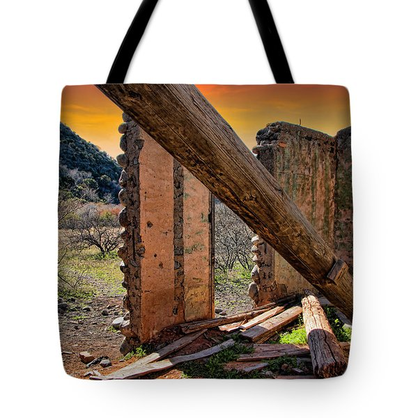 Ol' Building In Desert's Winter Warmth Tote Bag by Charles Ables