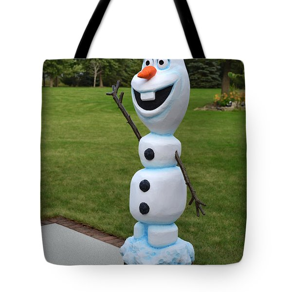 Olaf Wood Carving Tote Bag by Doug Kreuger