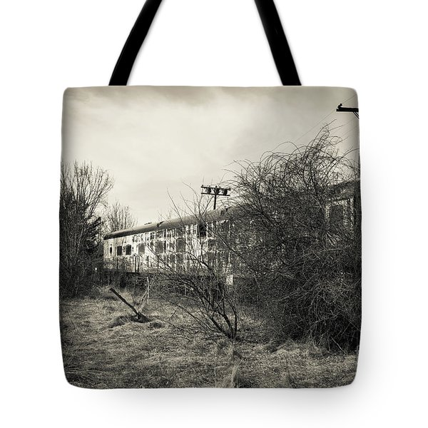 Tote Bag featuring the photograph Old Abandoned Railroad Passenger Car Cape Cod by Edward Fielding