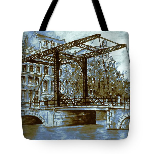 Old Amsterdam Bridge - Blue Water Color Tote Bag by Art America Gallery Peter Potter