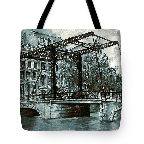 Old Amsterdam Bridge In Dutch Blue Water Colors Tote Bag