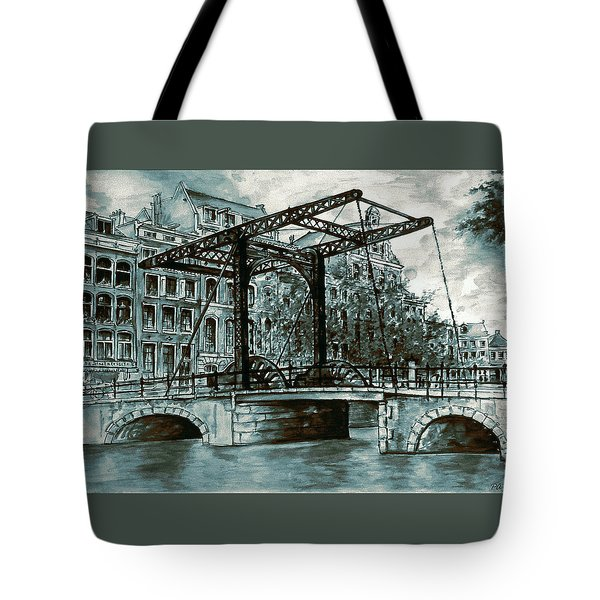 Old Amsterdam Bridge In Dutch Blue Water Colors Tote Bag