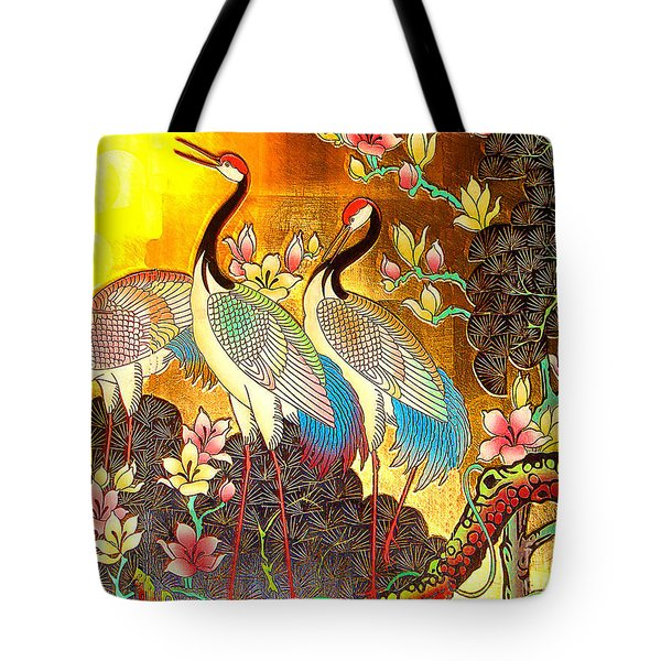Old Ancient Chinese Screen Painting - Cranes Tote Bag by Merton Allen