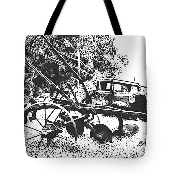 Old And Rusty In Black White Tote Bag