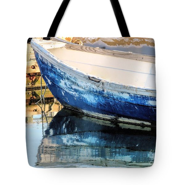 Old And Weathered Skiff  Tote Bag