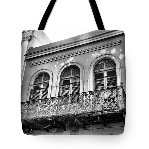 Tote Bag featuring the photograph Old Balcony Black And White by Rosalie Scanlon
