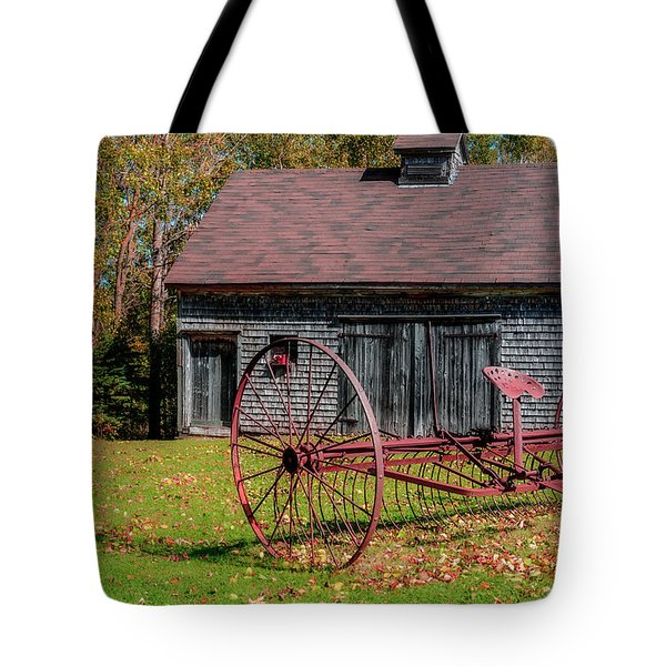 Old Barn And Rusty Farm Implement 02 Tote Bag by Ken Morris