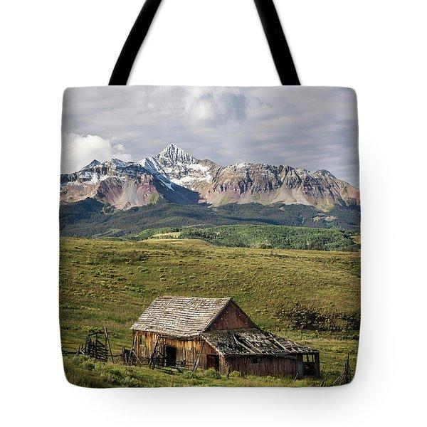 Old Barn And Wilson Peak Vertical Tote Bag
