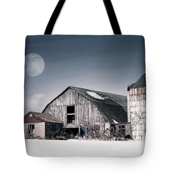 Old Barn And Winter Moon - Snowy Rustic Landscape Tote Bag by Gary Heller