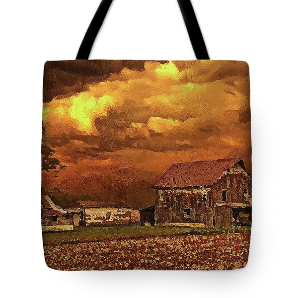 Tote Bag featuring the digital art Old Barn At Sunset by PixBreak Art