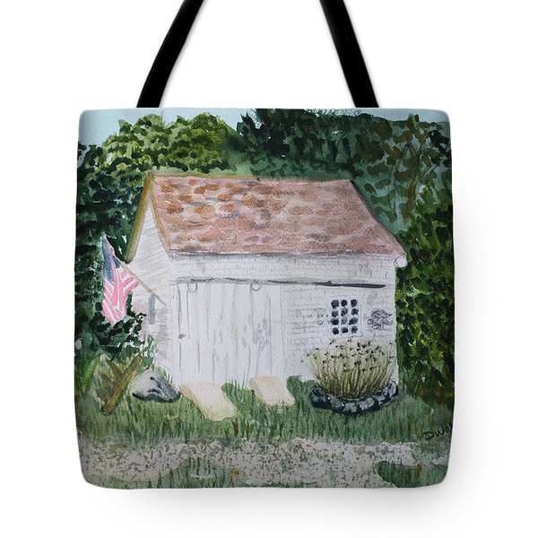 Tote Bag featuring the painting Old Barn In Eastham Ma by Donna Walsh