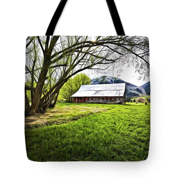Old Barn In Eden Utah Tote Bag by James Steele