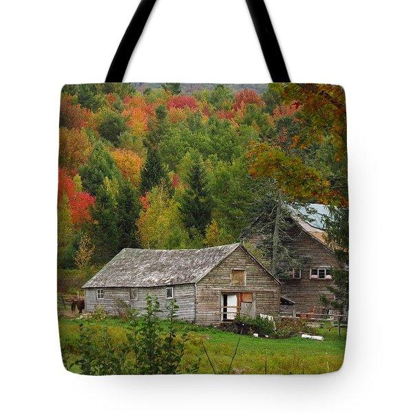 Old Barn In Fall Tote Bag