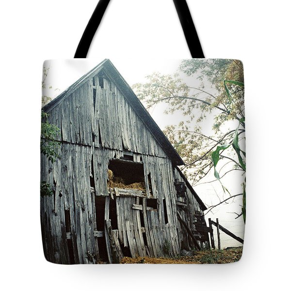 Old Barn In The Morning Mist Tote Bag