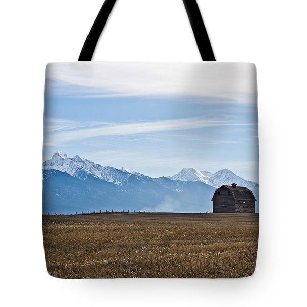 Old Barn, Mission Mountains Tote Bag