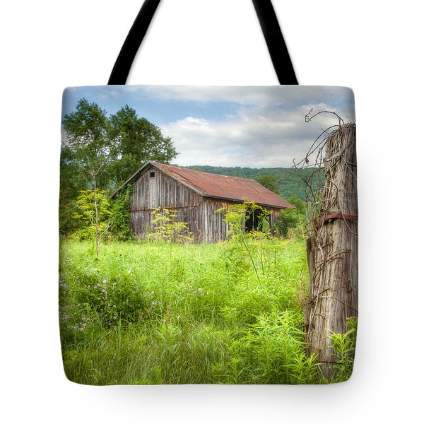 Tote Bag featuring the photograph Old Barn Near Stryker Rd. Rustic Landscape by Gary Heller