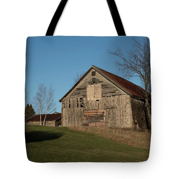 Old Barn On A Hill Tote Bag