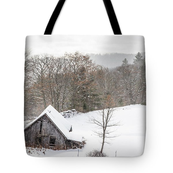 Old Barn On A Winter Day Wide View Tote Bag