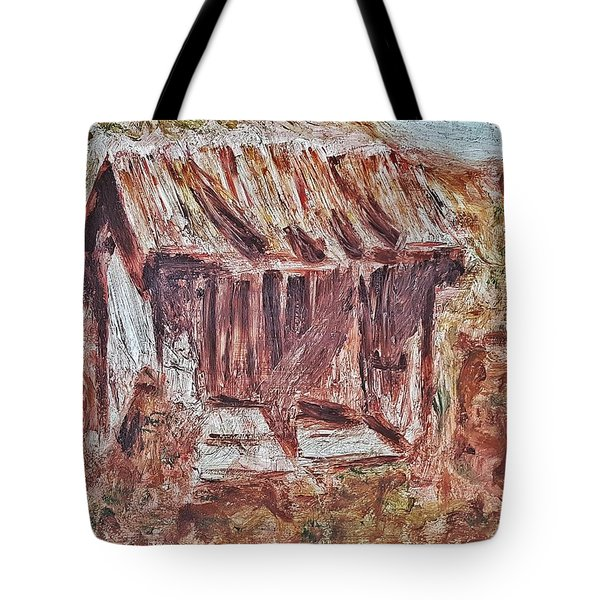 Old Barn Outhouse Falling Apart In Decay And Dilapidation Rotting Wood Overgrown Mountain Valley Sce Tote Bag by MendyZ