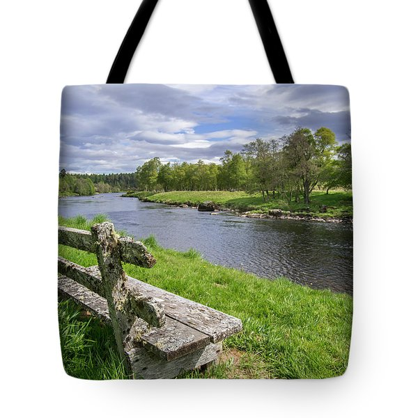 Old Bench Along Spey River, Scotland Tote Bag