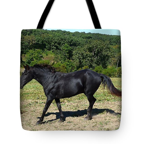 Old Black Horse Running Tote Bag