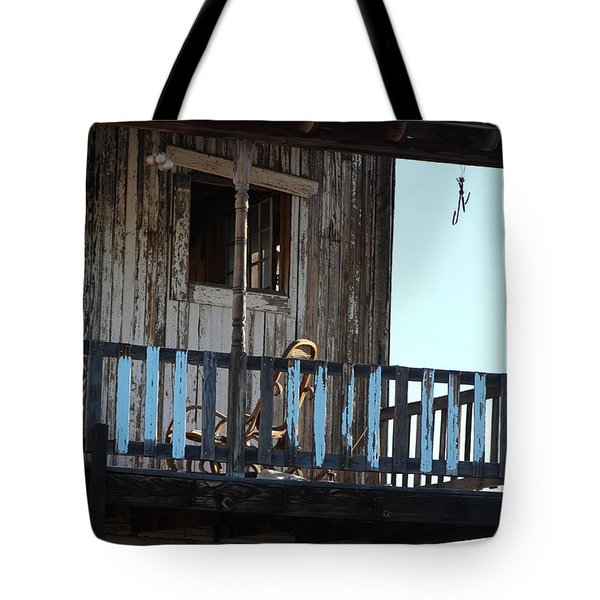 Old Blue Balcony Tote Bag