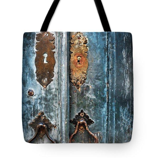Old Blue Door Tote Bag