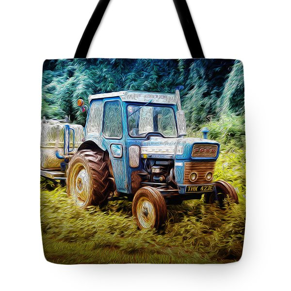 Old Blue Ford Tractor Tote Bag