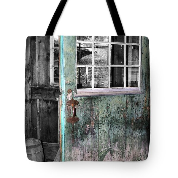 Rustic Blue - Green Door  Tote Bag