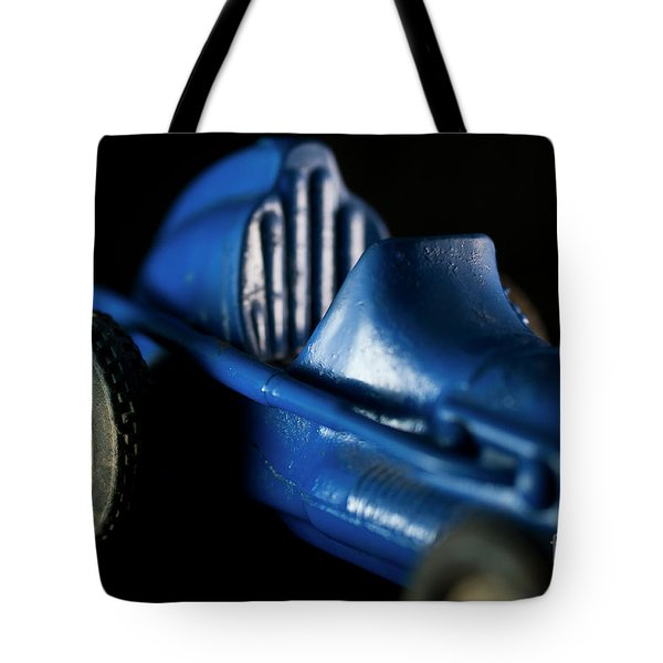 Old Blue Toy Race Car Tote Bag by Wilma Birdwell