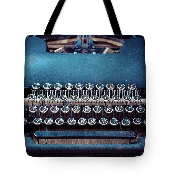 Tote Bag featuring the photograph Old Blue Typewriter by Edward Fielding