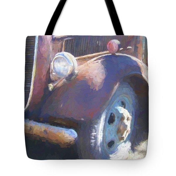 Old Blue Wheel Tote Bag