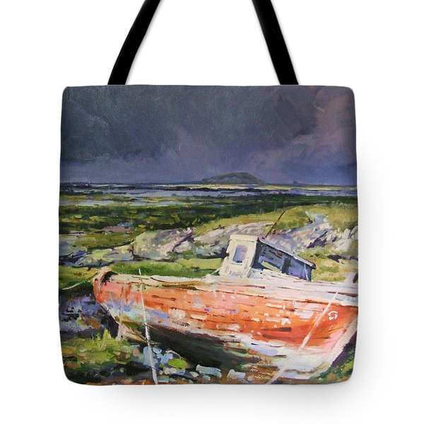 Old Boat On Shore Tote Bag by Conor McGuire