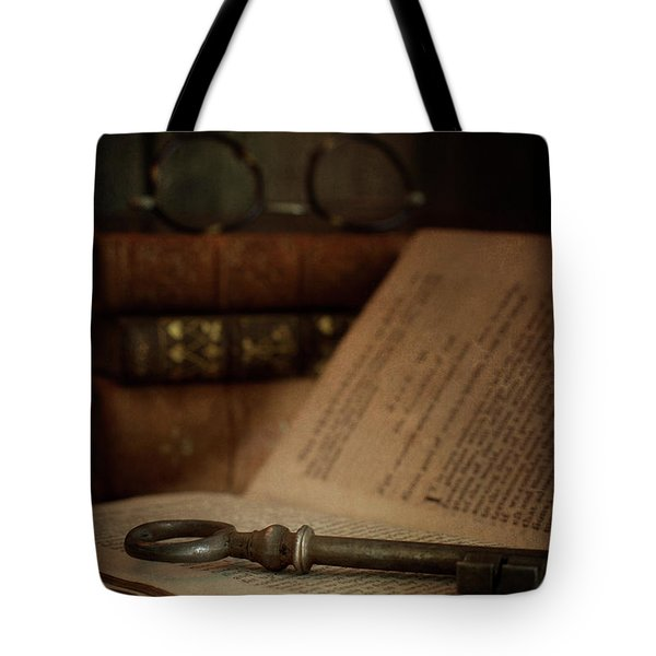 Old Book With Key Tote Bag