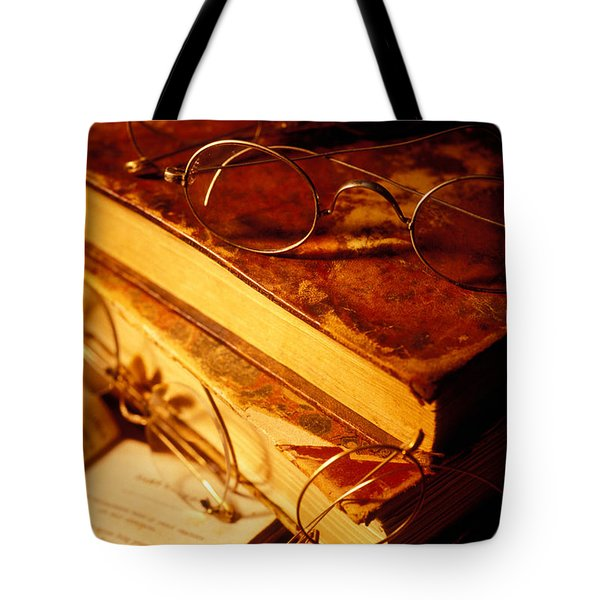 Old Books And Glasses Tote Bag by Garry Gay