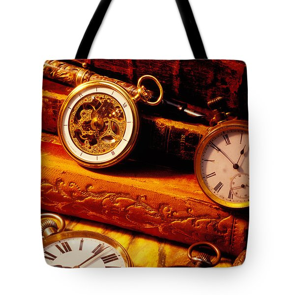 Old Books And Pocket Watches Tote Bag by Garry Gay