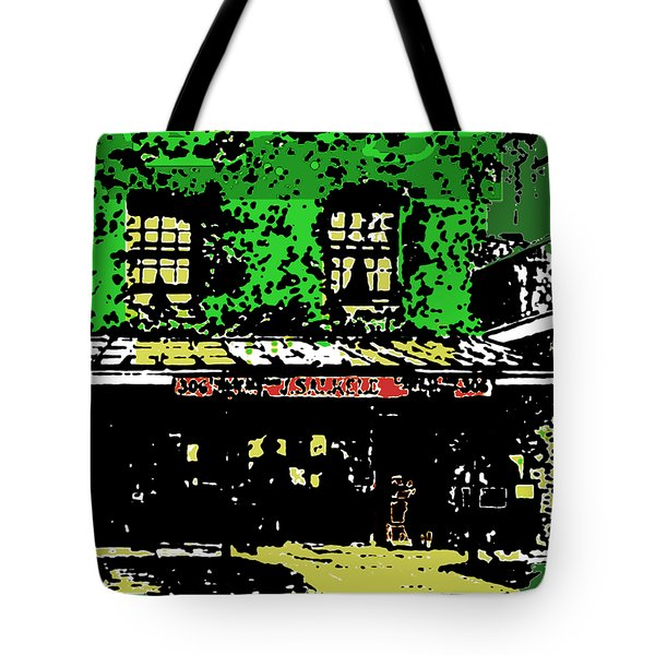 Tote Bag featuring the digital art Old Bookshop by Asok Mukhopadhyay