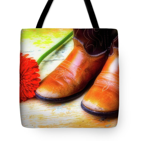 Old Boots And Daisy Tote Bag by Garry Gay