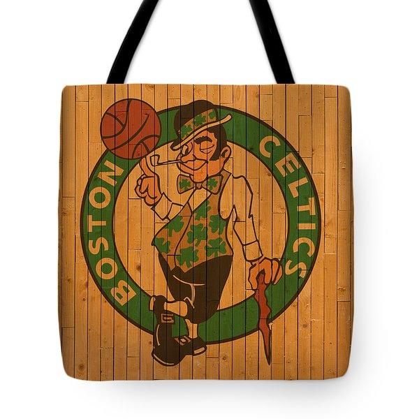 Old Boston Celtics Basketball Gym Floor Tote Bag