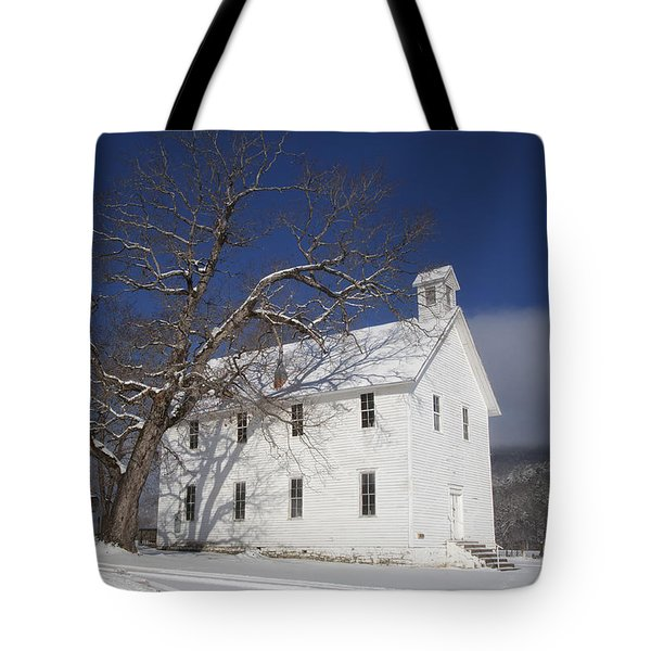 Old Boxley Community Building And Church In Winter Tote Bag