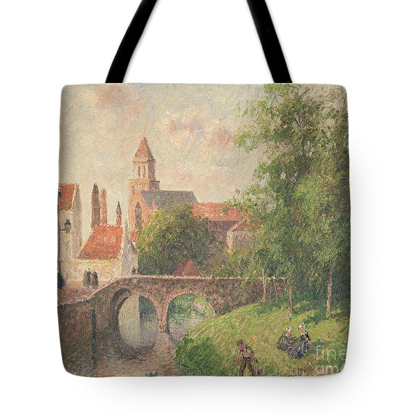 Old Bridge In Bruges  Tote Bag by Camille Pissarro