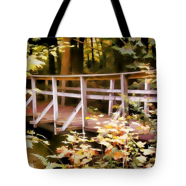 Old Bridge In The Woods In Color Tote Bag