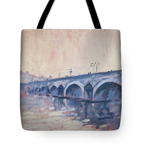 Old Bridge Of Maastricht In Warm Diffuse Autumn Light Tote Bag by Nop Briex