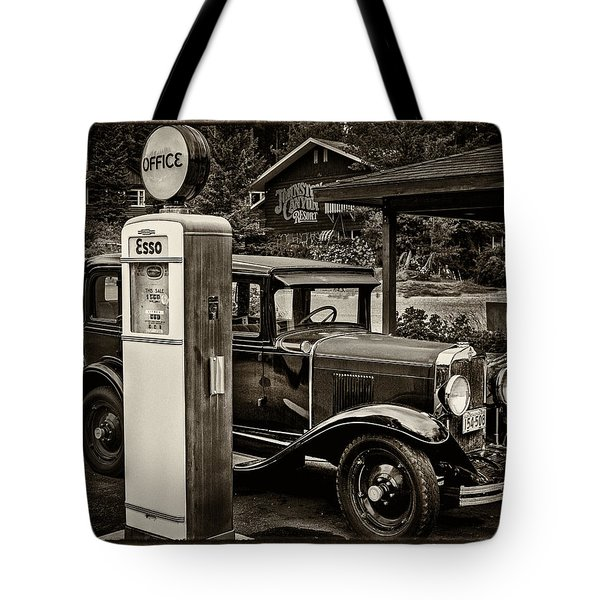 Old Car @ Gas Station Tote Bag