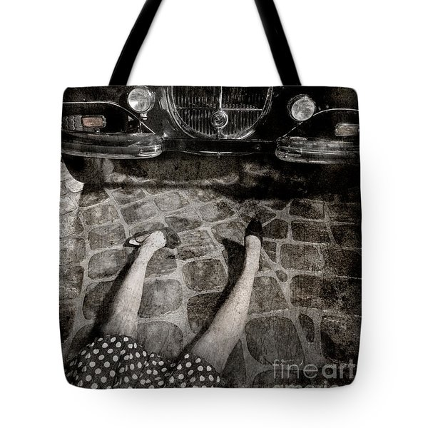 Tote Bag featuring the photograph Old Car And The Girl. by Andrey  Godyaykin